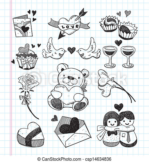 Doodle love icons vectors search clip art illustration for Love doodles to draw