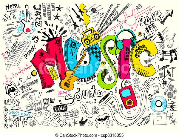doodle, música - csp8318355