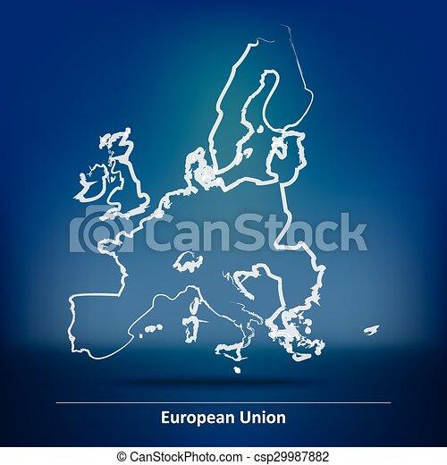 Doodle Map of European Union 2015 - csp29987882