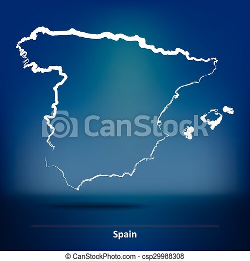 Doodle Map of Spain - csp29988308