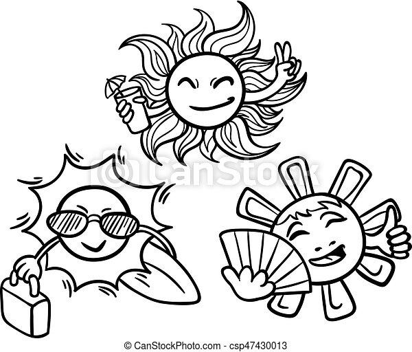 Doodle Monochrome Summer Vacation Concept Doodle Monochrome Summer