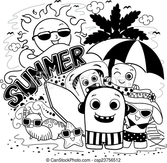 Doodle Monster Summer Doodle Illustration Of Cute Monsters Playing
