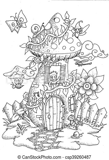 Doodle Mushrooms Fairy House Hand Drawn Doodle Outline