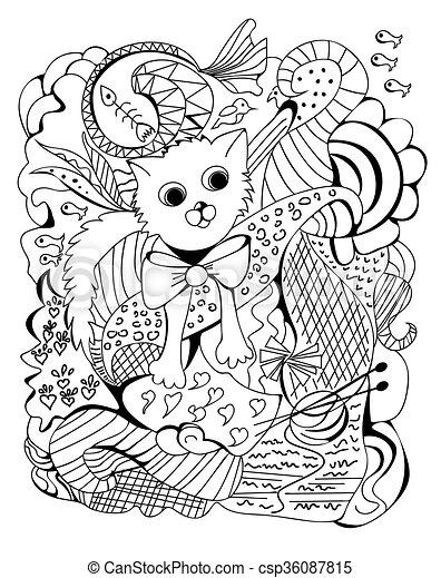 Doodle of a cat, vector illustration - csp36087815