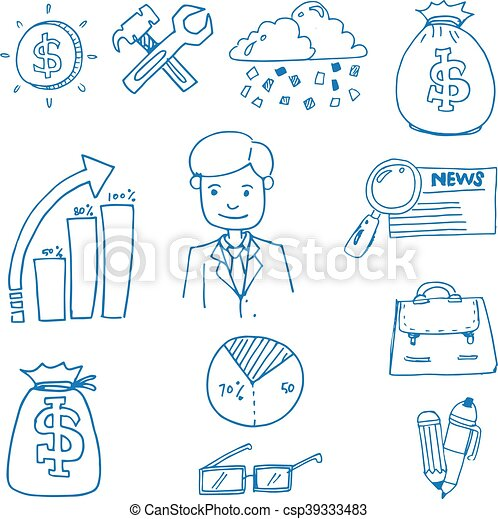 doodle of business object set hand draw rh canstockphoto com Food Clip Art Animal Clip Art