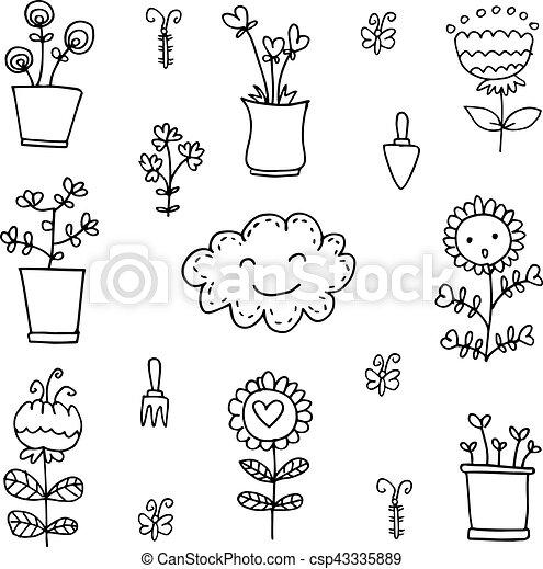 Doodle of flower set item - csp43335889