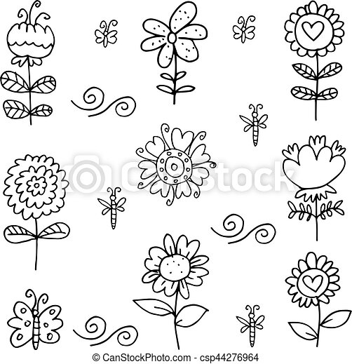 Doodle of flower set vector art - csp44276964