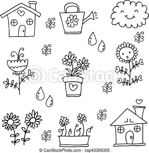 Doodle of flower spring set - csp43306355