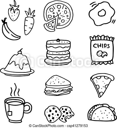 doodle of food and drink hand draw vector art How Draw High Heels doodle of food and drink hand draw csp41279153