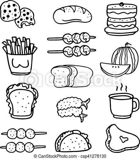 Doodle of food set hand draw - csp41278130
