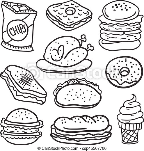 doodle of food with hand draw vector art