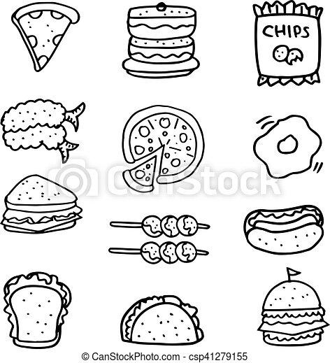 Doodle of hand draw food set - csp41279155