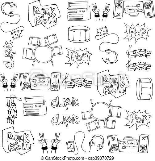Doodle of hand draw music set - csp39070729