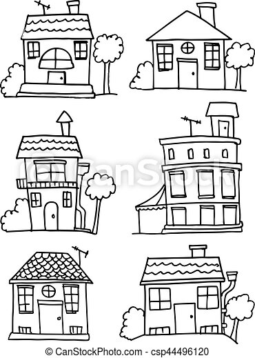 Doodle of house set hand draw - csp44496120