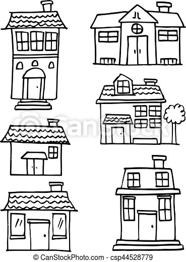 Doodle of house set hand draw - csp44528779