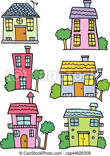 Doodle of house set hand draw - csp44626308