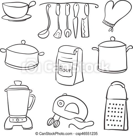 Doodle Of Kitchen Set Black White Vector Illustration