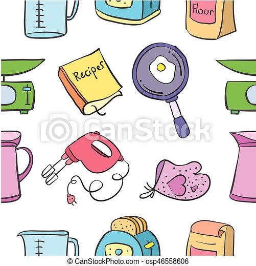 Doodle Of Kitchen Set Colorful Style Vector Art
