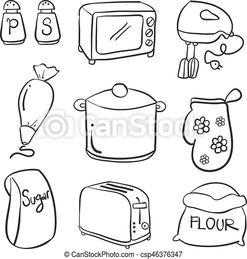 Doodle Of Kitchen Set Hand Draw Collection Vector Art