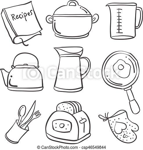 Doodle Of Kitchen Set Hand Draw Vector Illustration