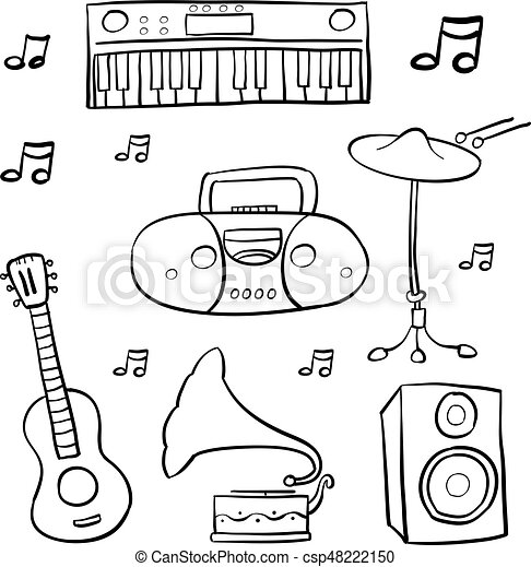 Doodle Of Music Hand Draw Vector Art