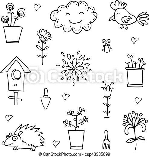 Doodle of spring cloud flower set - csp43335899