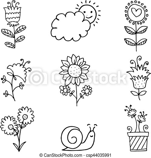 Doodle of spring flower set hand draw - csp44035991