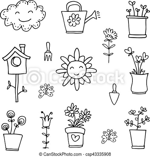 Doodle of spring flower set hand draw - csp43335908