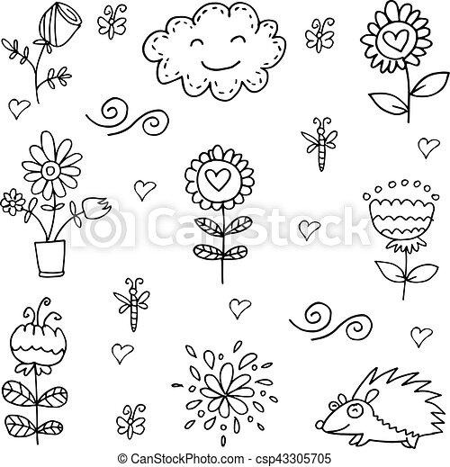 Doodle of spring item flower set - csp43305705