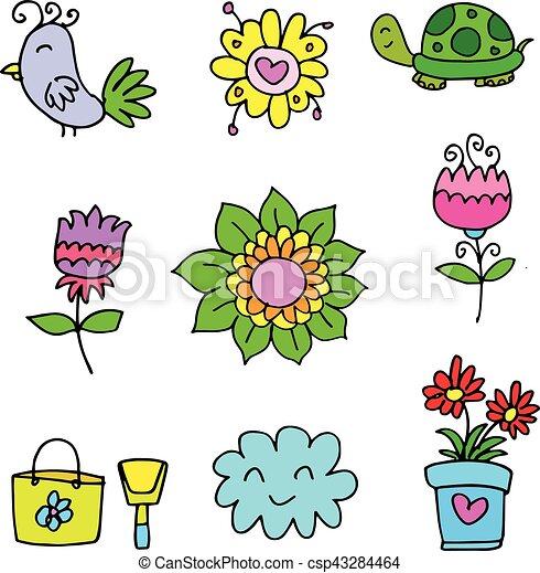 Doodle of spring set flower - csp43284464