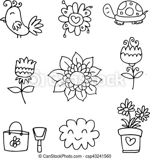Doodle of spring set flower cloud - csp43241560