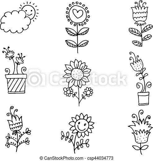 Doodle of spring set flower - csp44034773