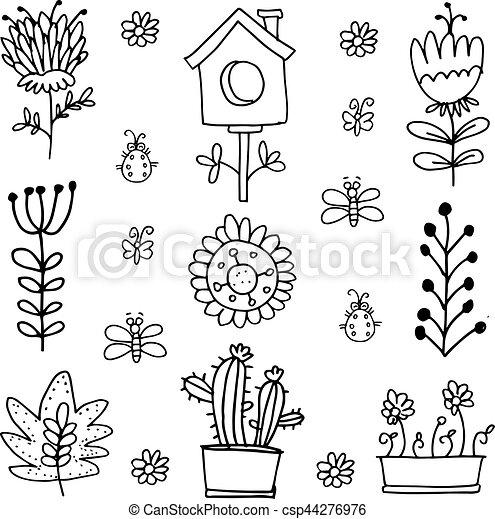 Doodle of spring set flower - csp44276976