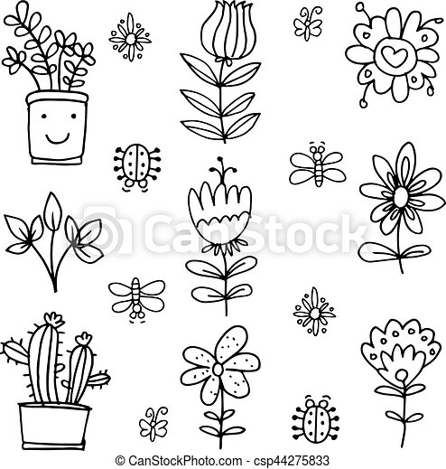 Doodle of spring set with flower - csp44275833