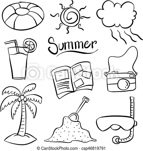Doodle of summer object vector art hand draw.