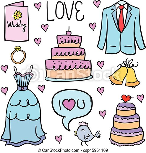 Doodle of wedding party colorful - csp45951109