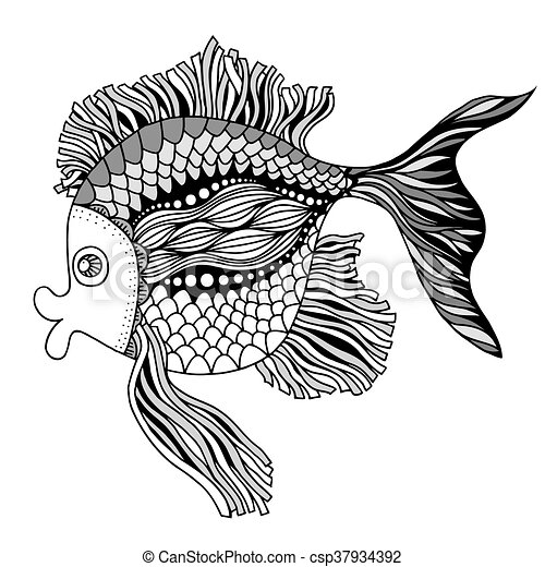 doodle outline fish csp37934392 - Outline Of Fish