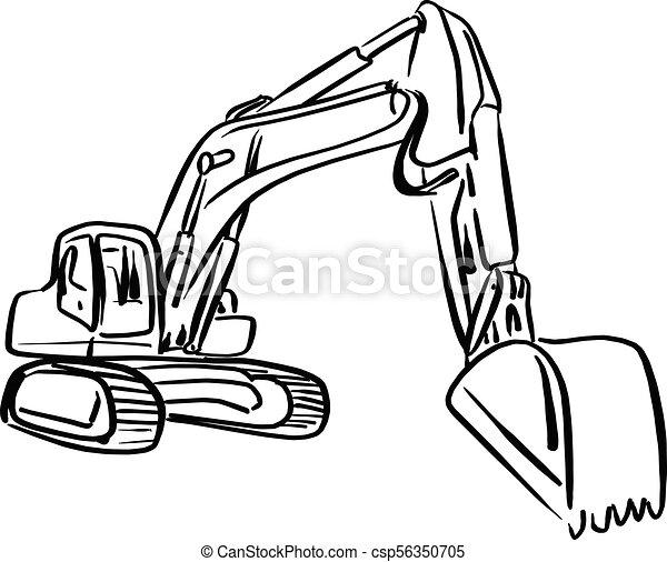 Doodle Outline Front Hoe Loader Excavator Vector Illustration Sketch Hand Drawn With Black Lines