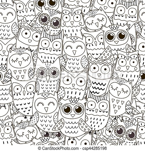 Doodle owls seamless pattern - csp44285198