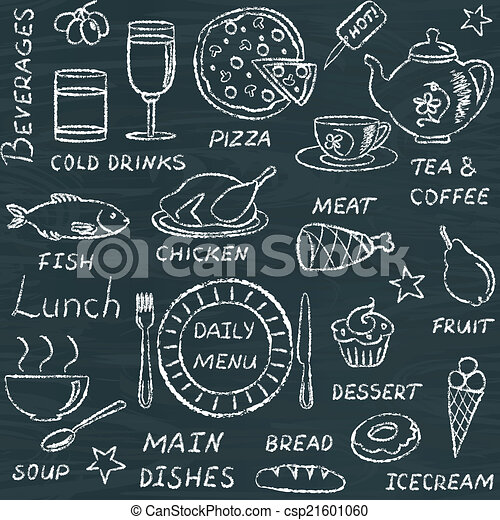 doodle, padrão, elementos, seamless, menu - csp21601060