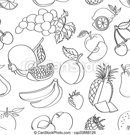 Doodle pattern fruit - csp33888126