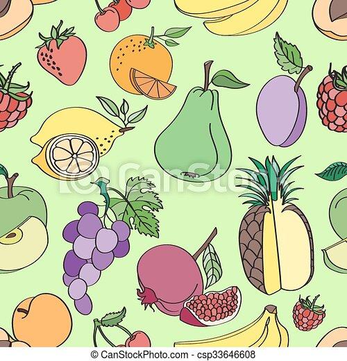 Doodle pattern fruit - csp33646608