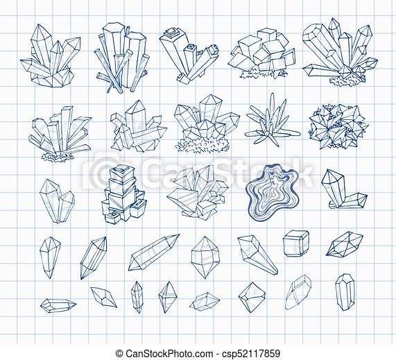 Doodle pen sketch crystals. Collection of minerals on lined paper. Vector illustration - csp52117859