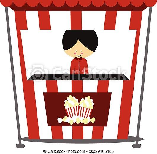 Doodle Popcorn Seller - csp29105485