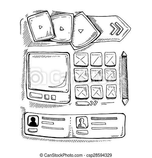 Doodle portfolio wireframe. Wireframe ui kit. web design portfolio ...