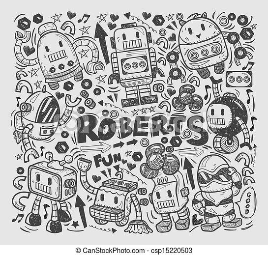 doodle robot element, illustrator line tools drawing - csp15220503