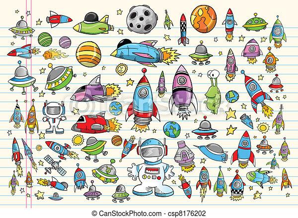 doodle, ruimte, set, vector, ontwerp - csp8176202