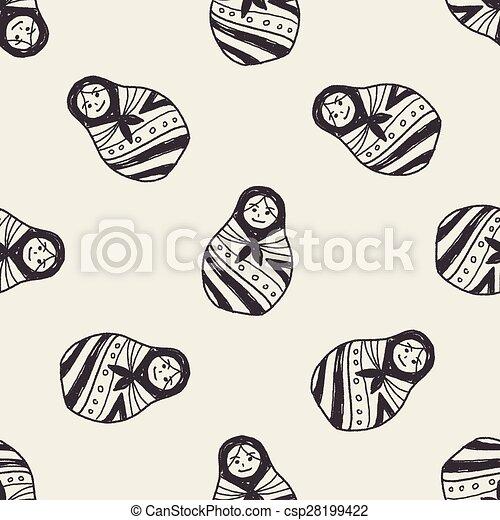 Doodle Russian Dolls - csp28199422