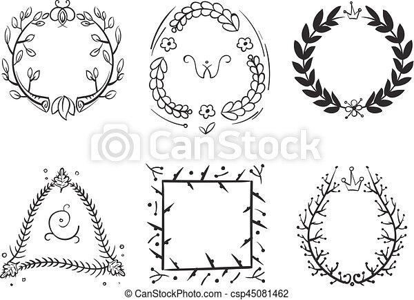 Doodle Rustic Branch Frames Vector Hand Drawn Nature Swirl Tree Decorative Border