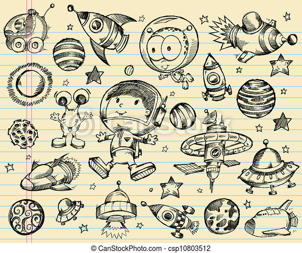 doodle, rys, komplet, zewnętrzna przestrzeń - csp10803512